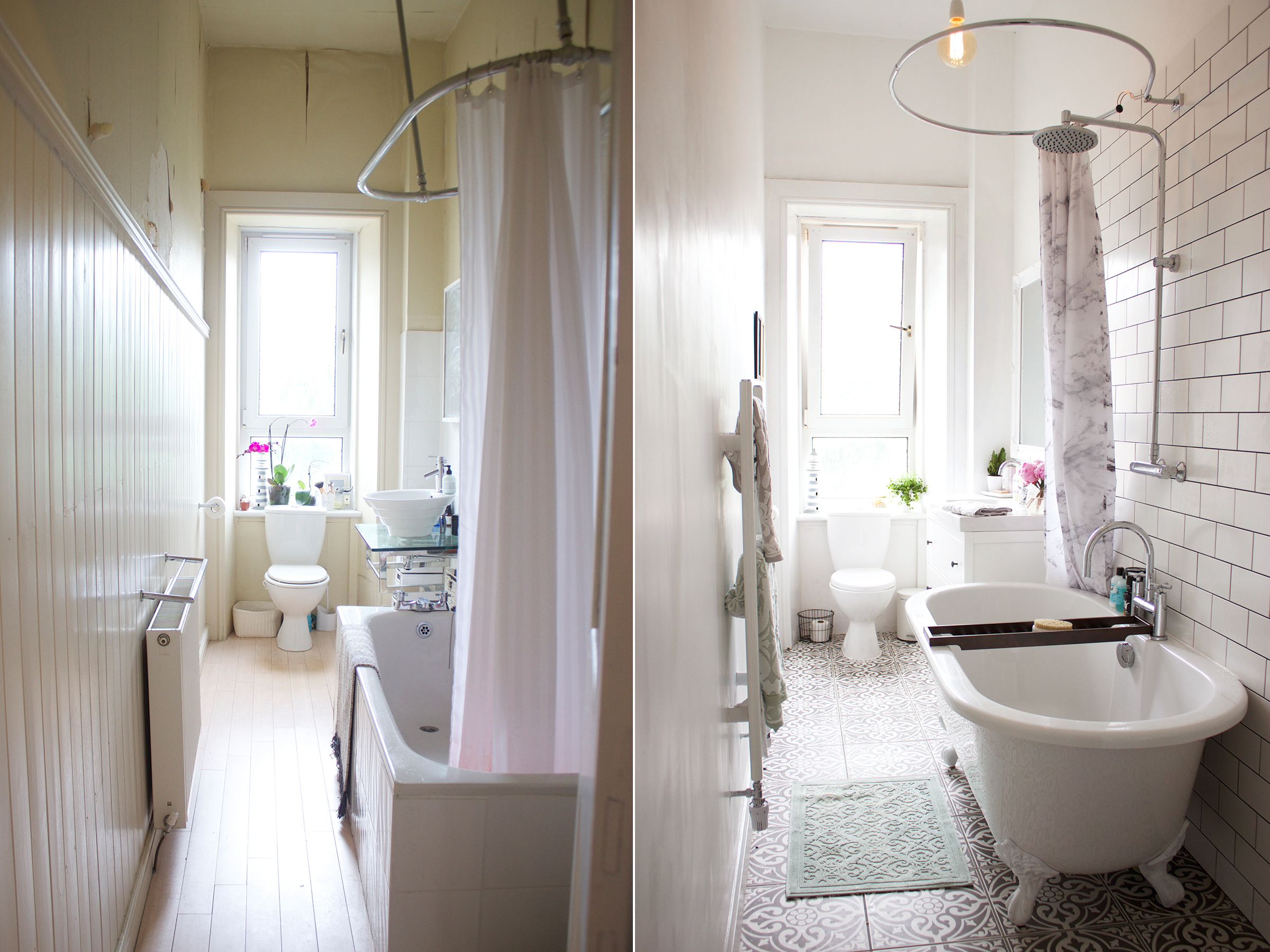 A bathroom makeover before after kate la vie for Before and after small bathroom makeovers